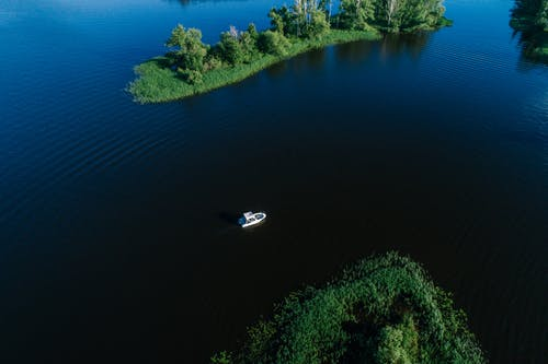 Aerial View of a Boat on a Lake
