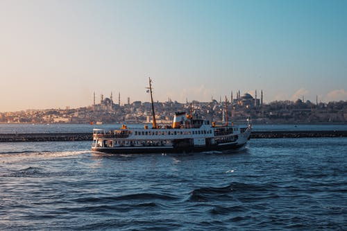 A Ferry Traveling on the Sea