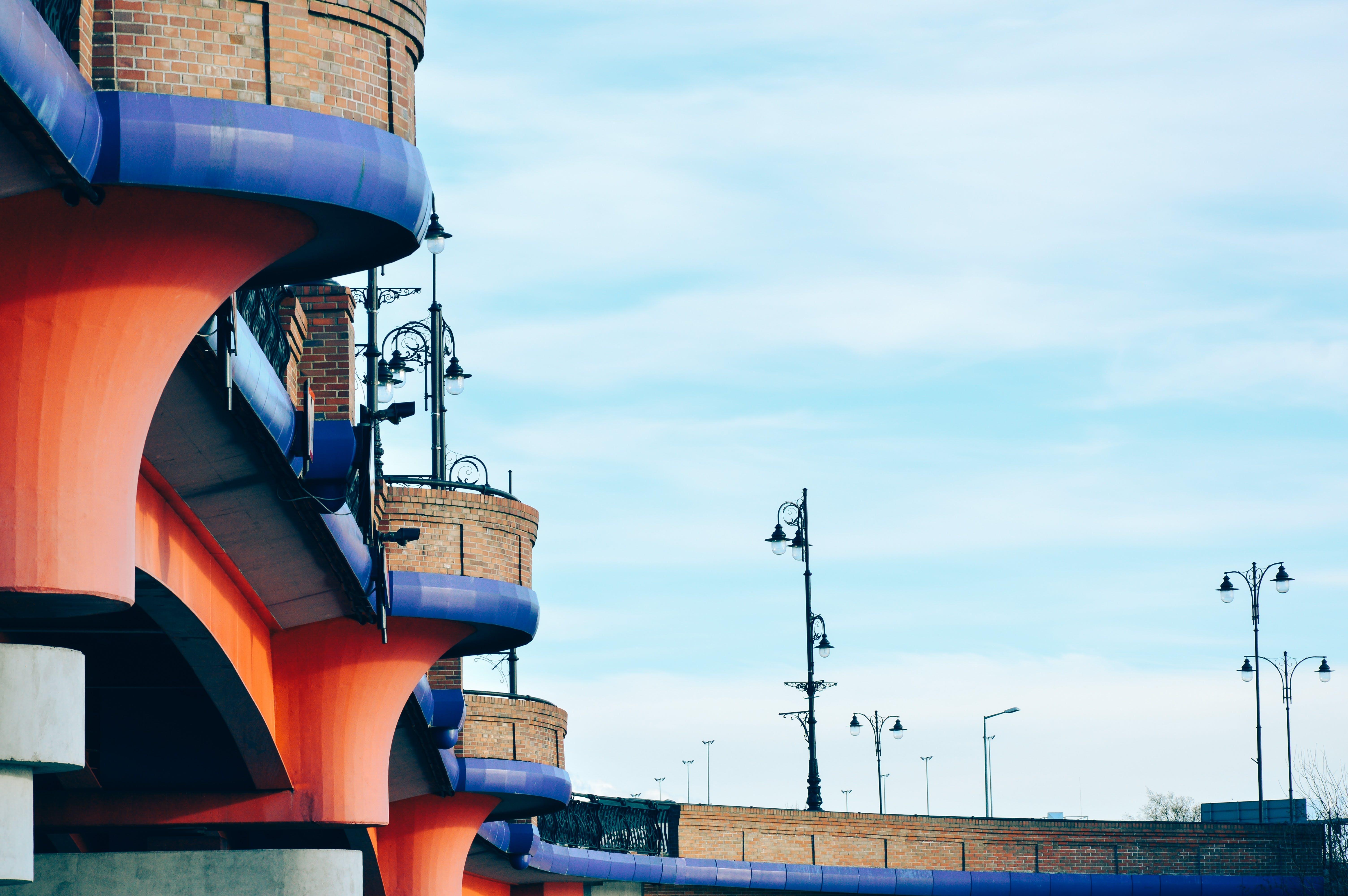 Free stock photo of bridge, architecture, street lamps, perspective