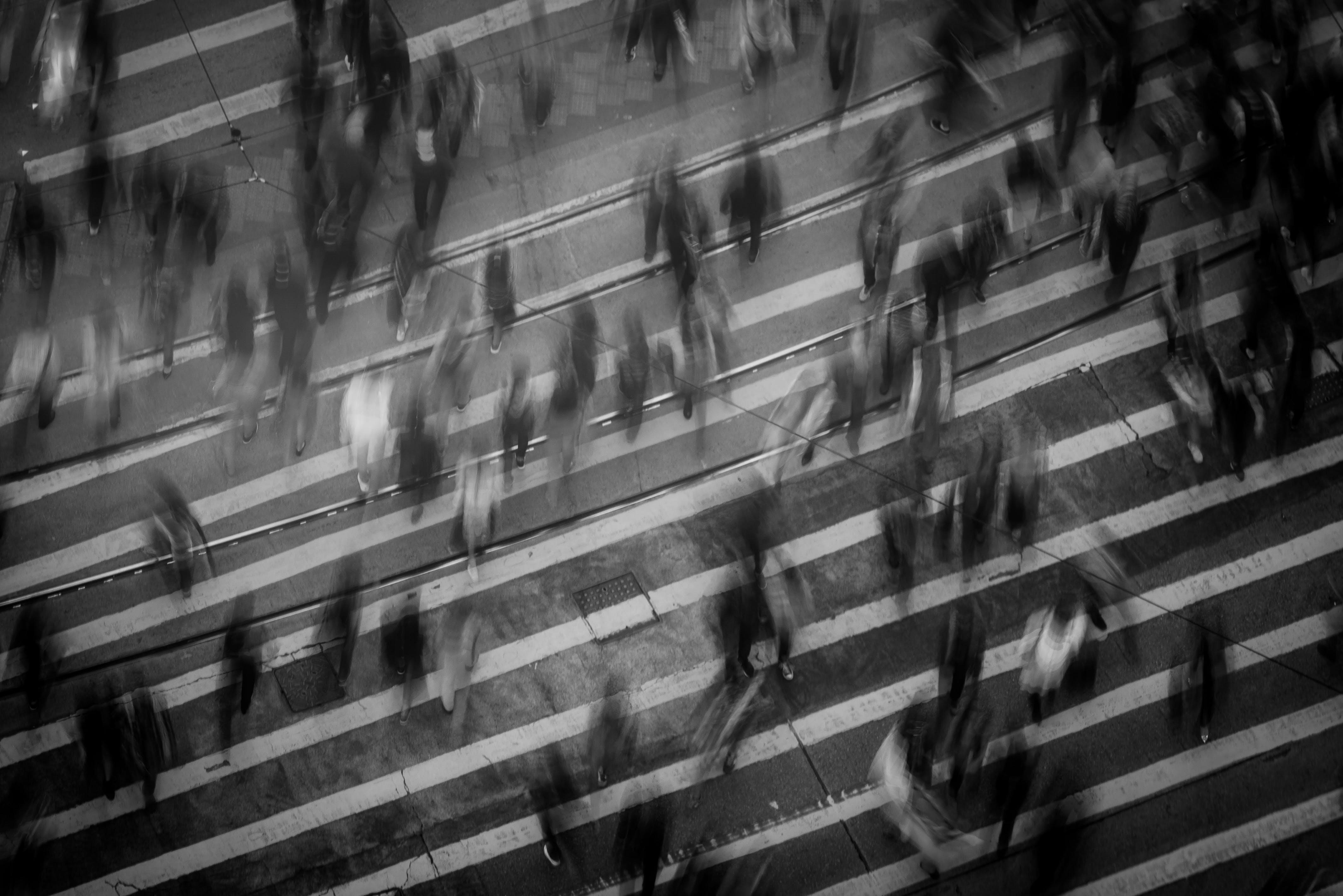 Základová fotografie zdarma na téma časosběr, černobílá, chůze, dav