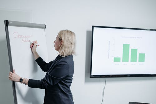 Woman in Black Long Sleeve Shirt Standing Near White Wall Mounted Flat Screen Tv