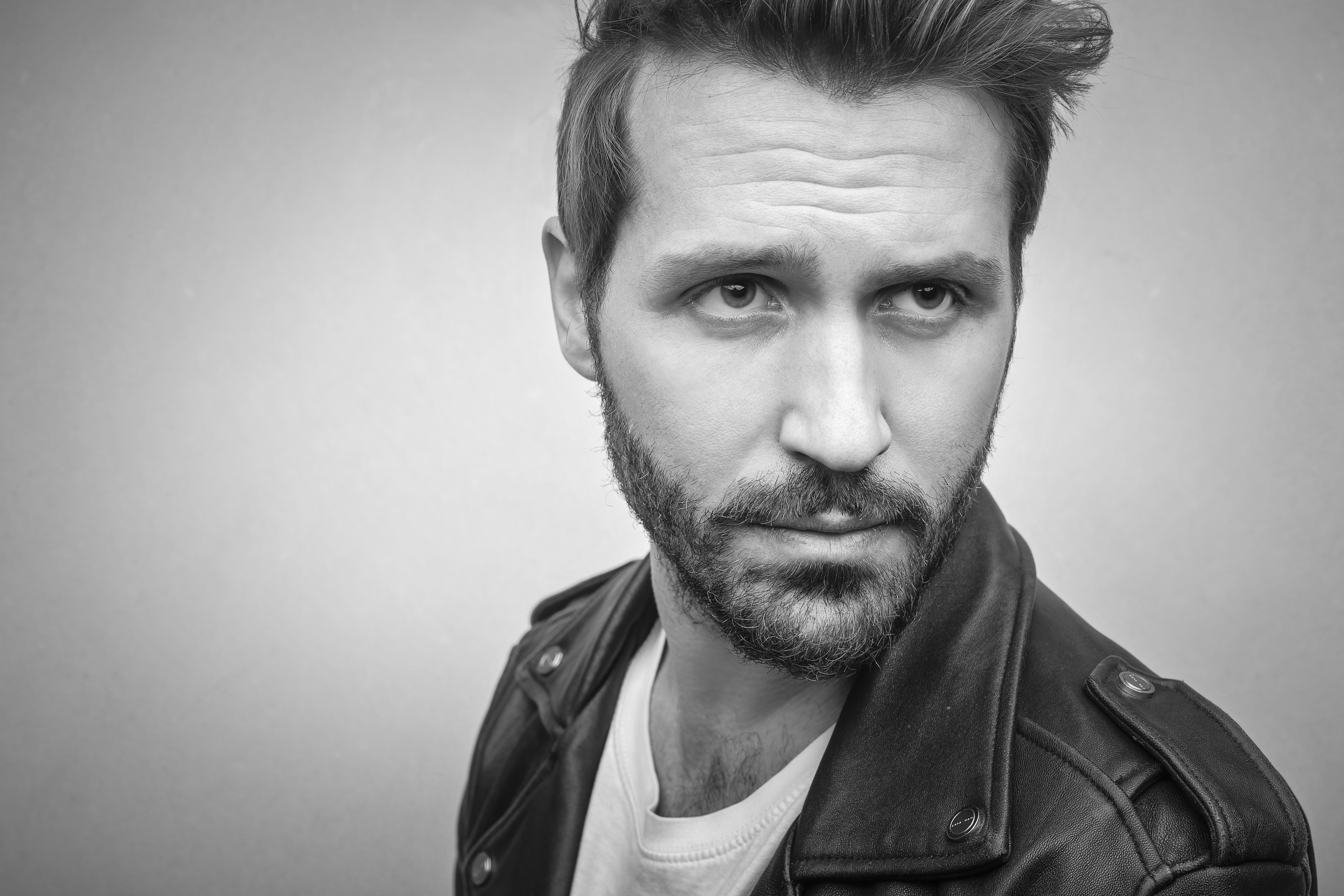 Bearded Man Wearing Black Leather Jacket