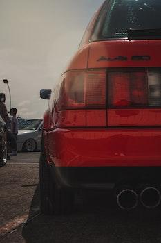 Red Audi 50 Car Closeup Photography