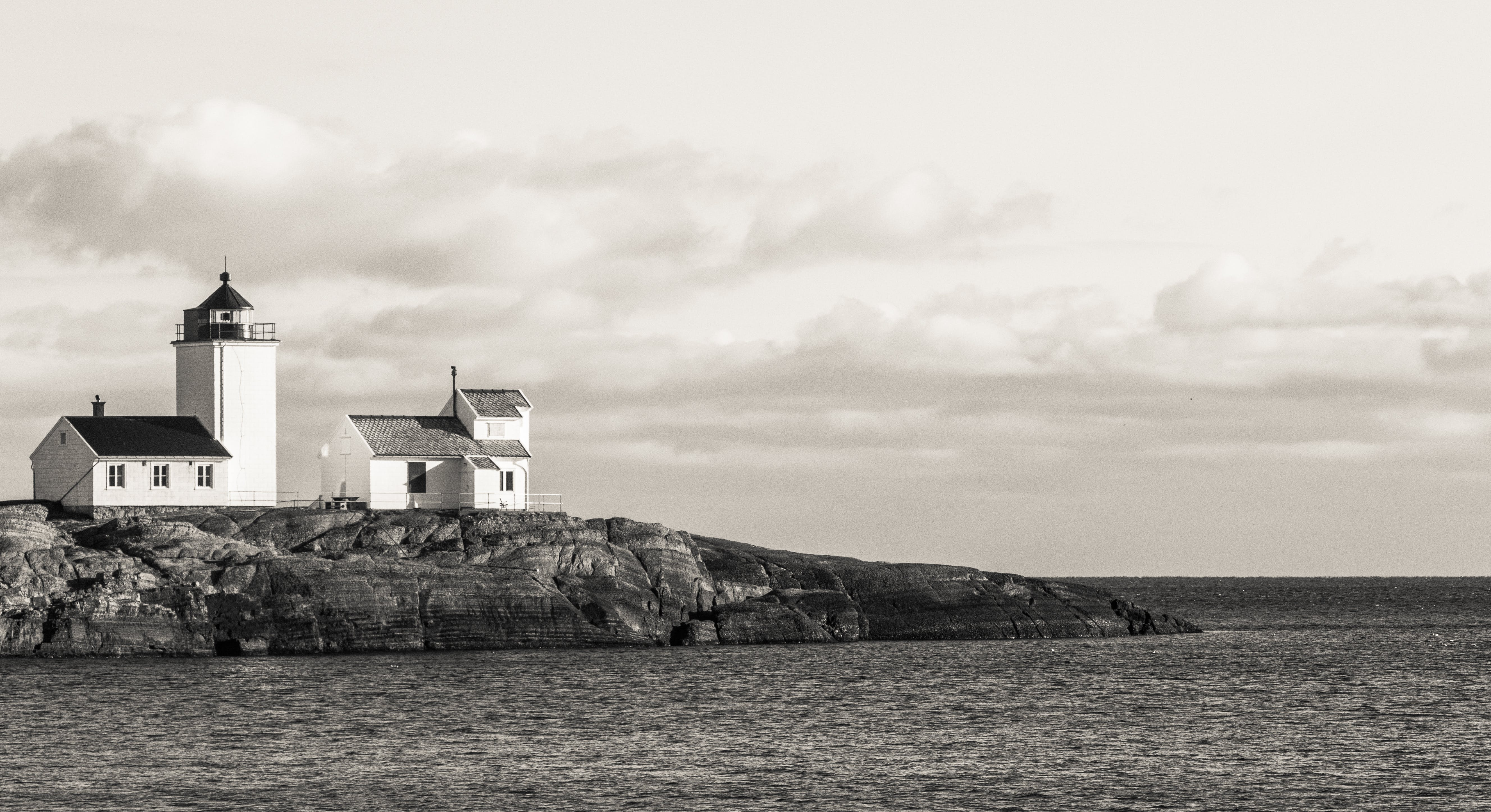 Lighthouse in Grayscale Poster