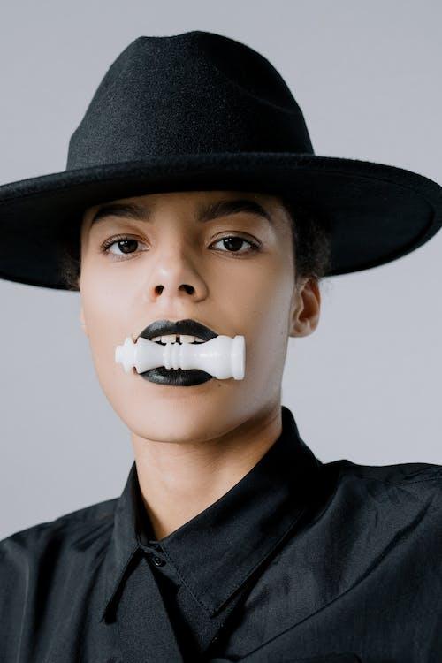 Free stock photo of adult, black lipstick, black queen