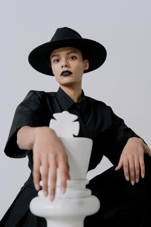 Free stock photo of achievement, black queen, chess fashion