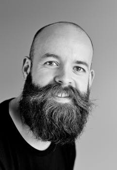 Gray Scale Bearded Man