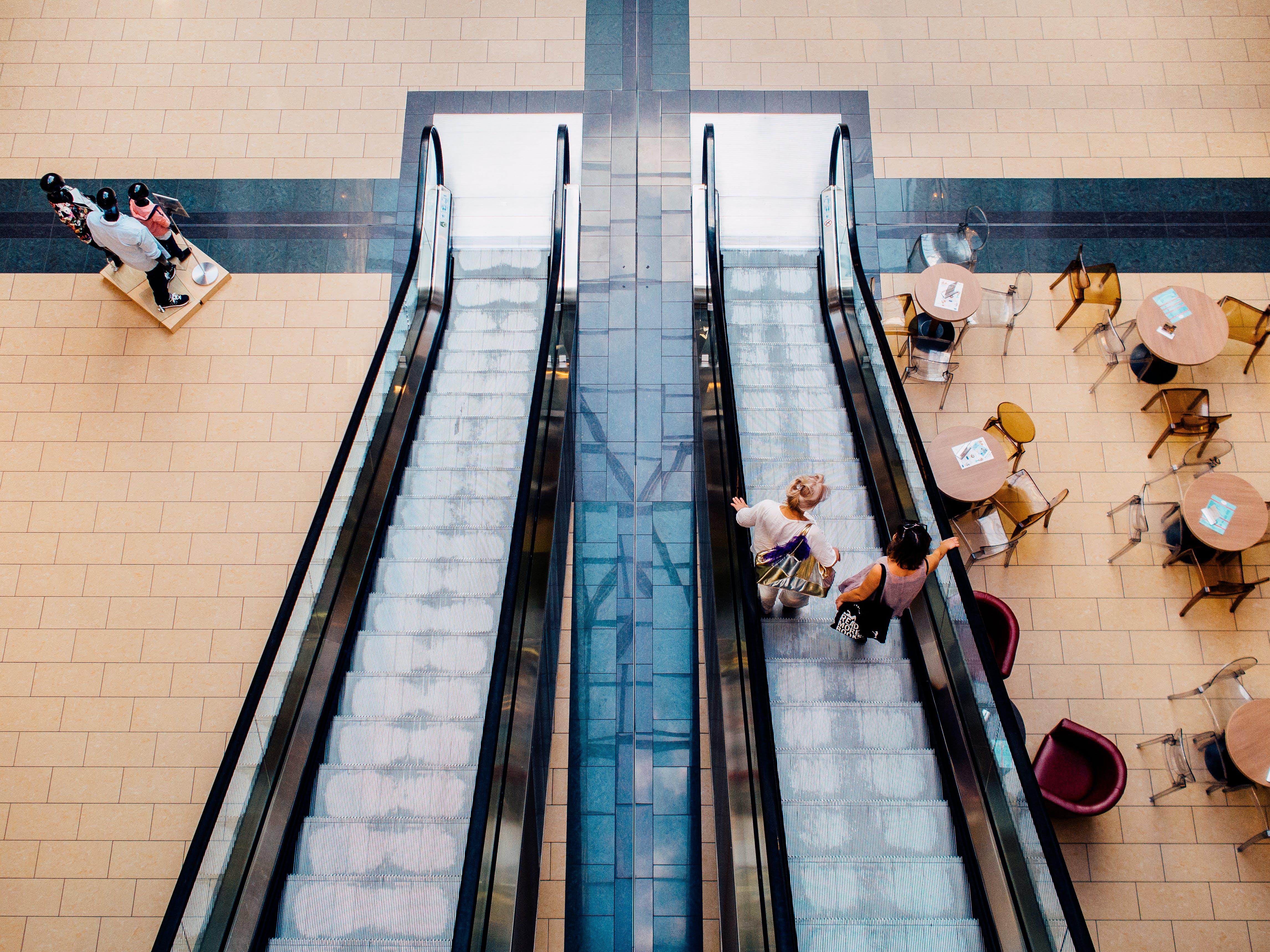 berbelanja, eskalator, manusia