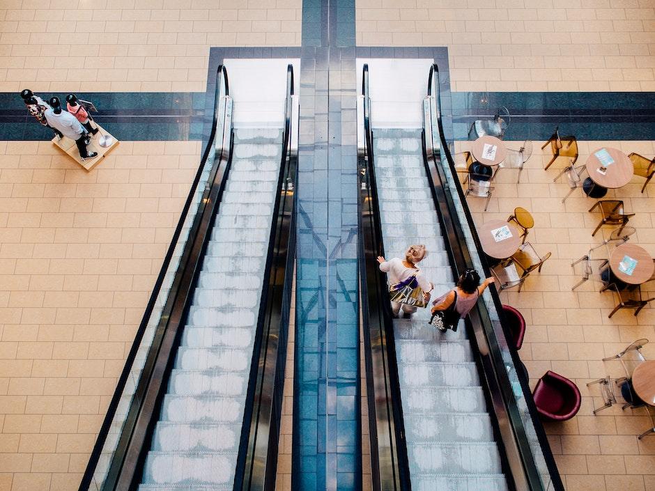 escalator, mall, people