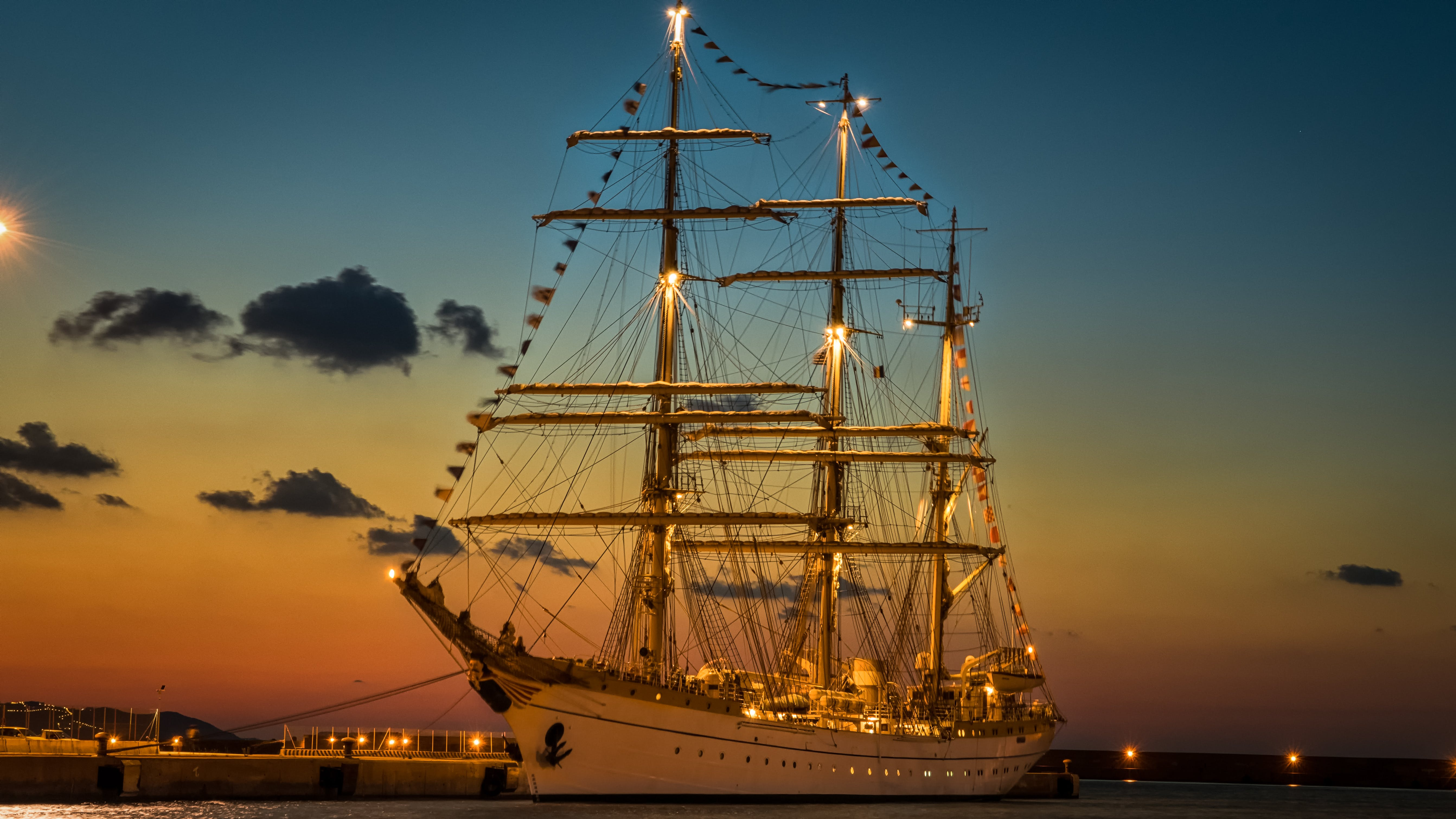 White Ship during Golden Hour