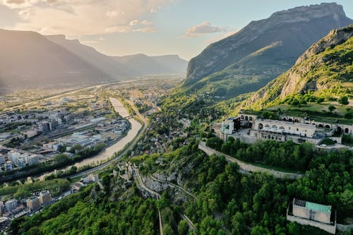 Aerial View of a Mountains Valley City