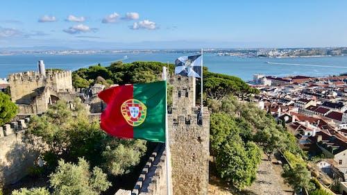 Darmowe zdjęcie z galerii z dron, flaga, lizbona