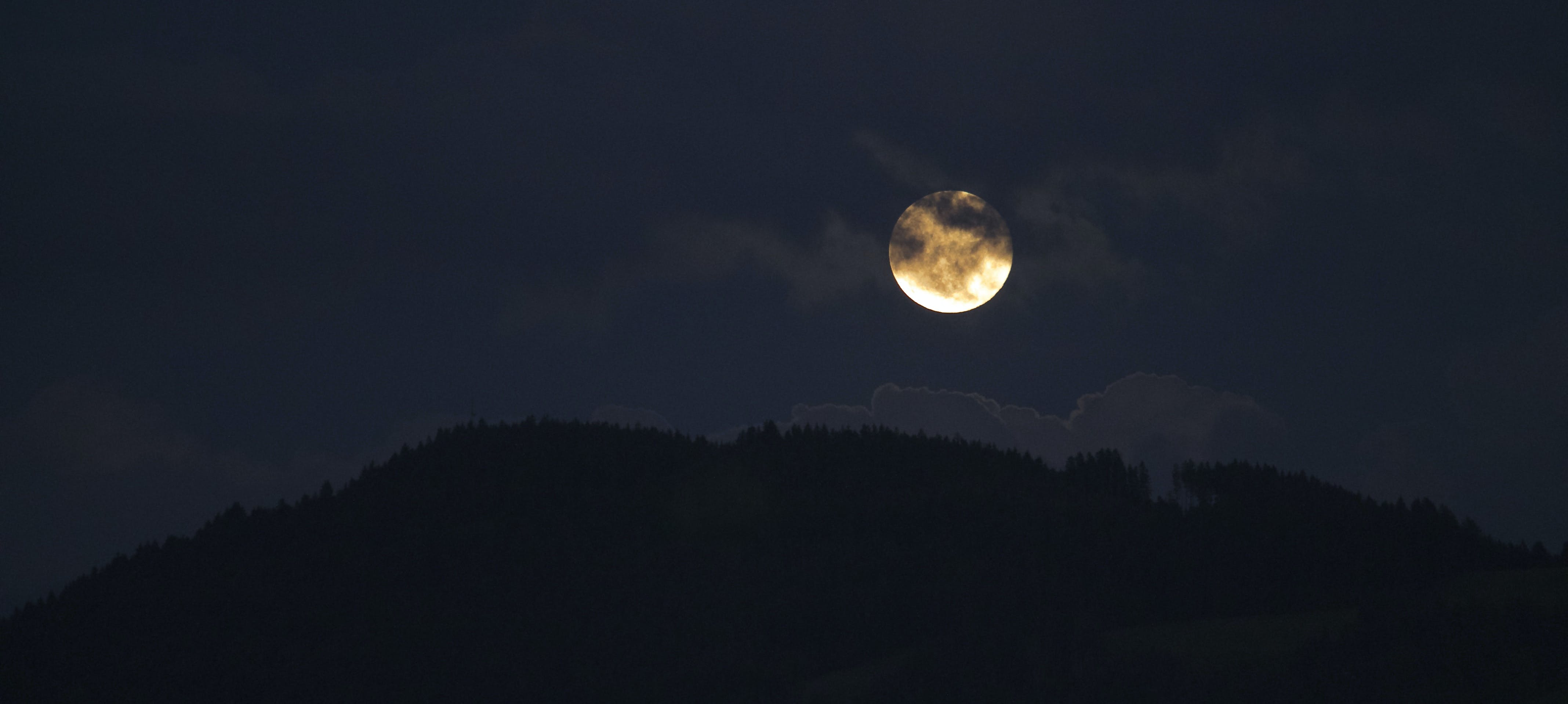 Silhouette of Moon and Mountain