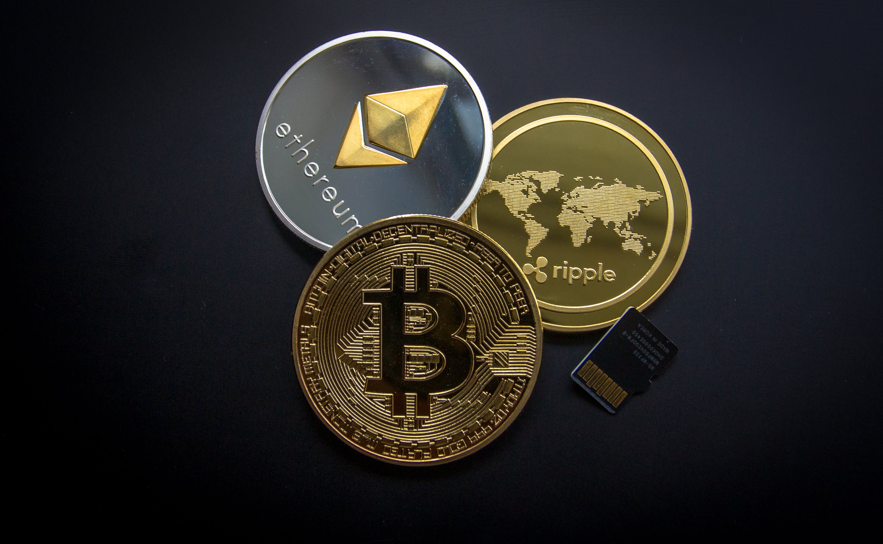 Ripple, Etehereum and Bitcoin and Micro Sdhc Card