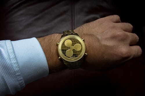 Person Wearing Round Gold Watch