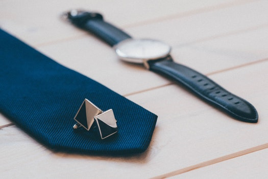 Free stock photo of fashion, tie, watch, cufflinks