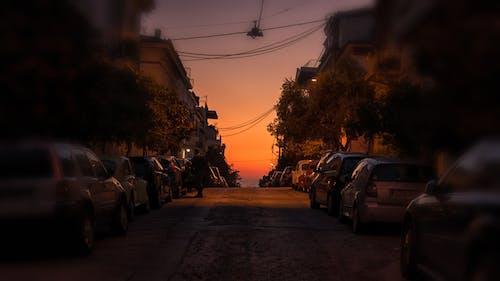Gratis lagerfoto af aften, biler, by, gade