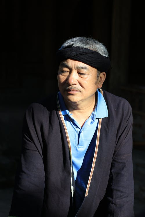 Man in Black Coat and Blue Shirt