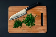 food, cutting board, knife