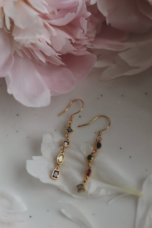 Close-Up View of Expensive Gold Earrings