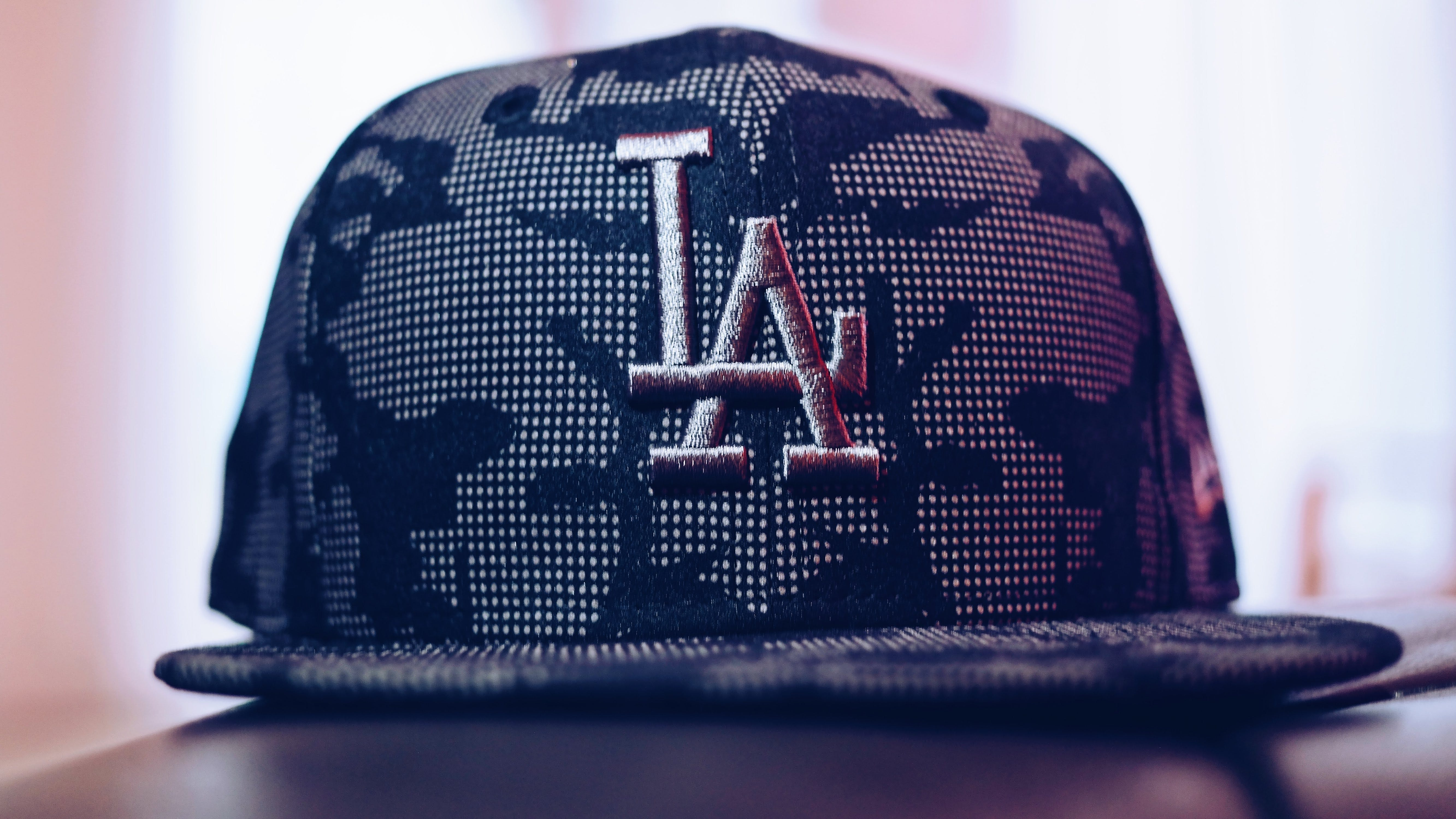 Gray and Black La Embroidered Fitted Cap