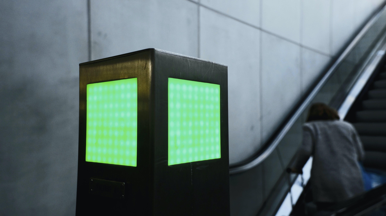 elevator, green, green sign
