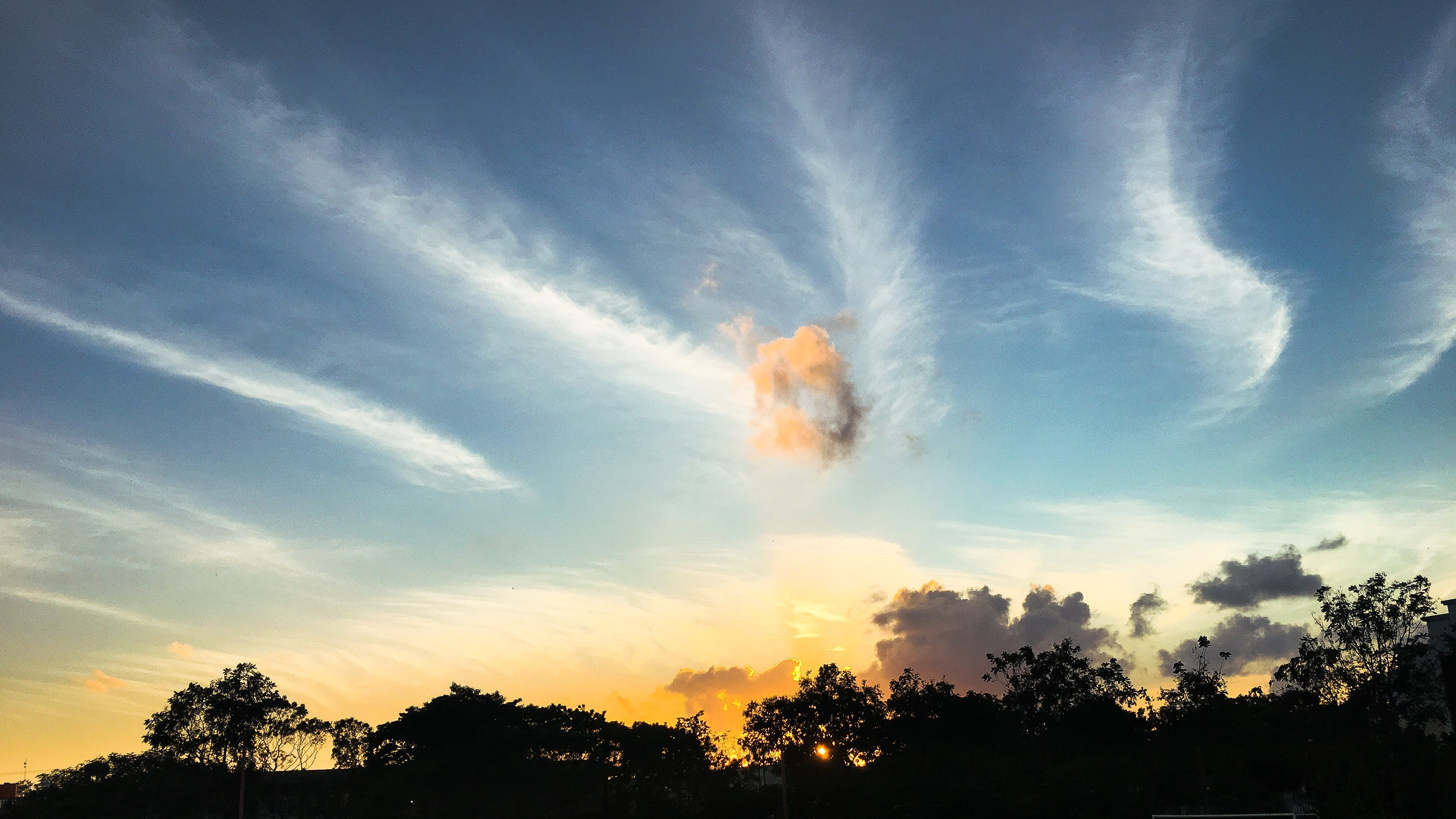 Free stock photo of blue sky, clouds, golden sunset