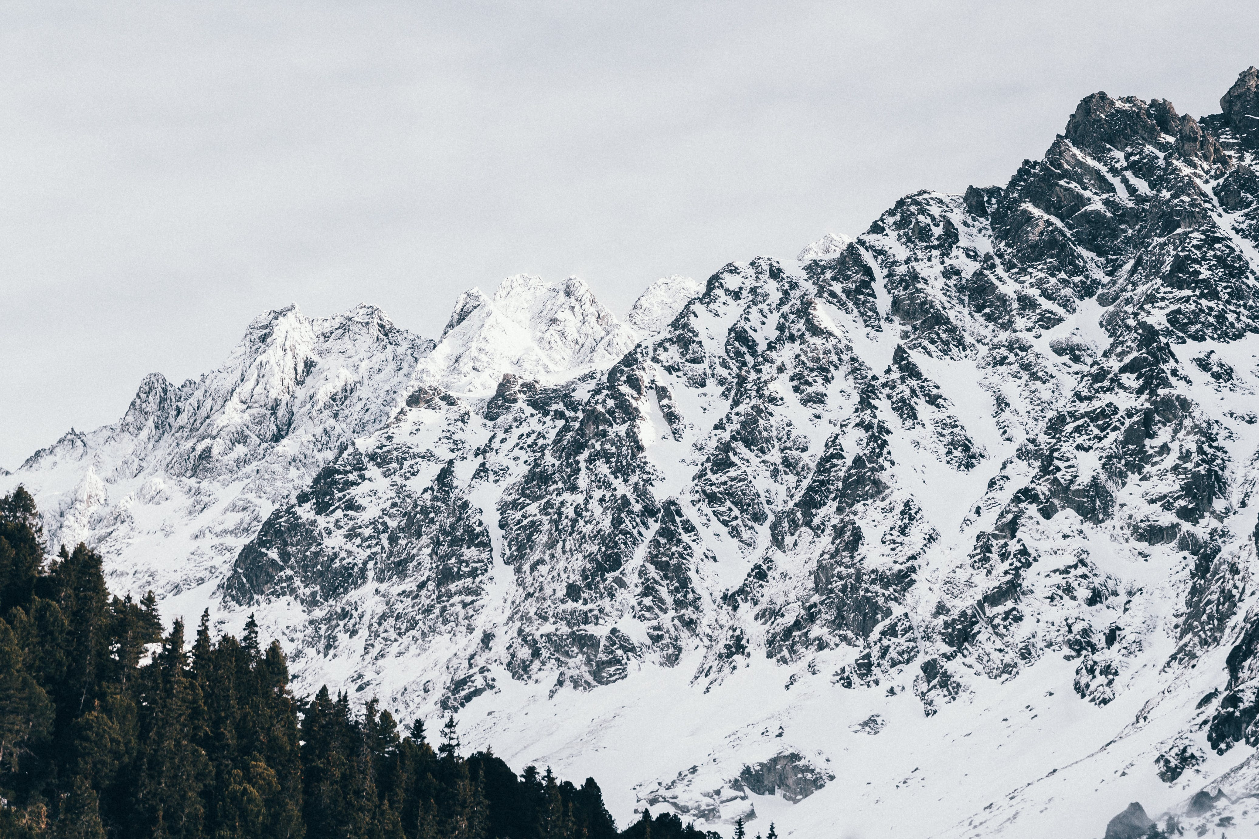 Mountain Cover by Snow at Daytime