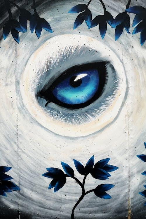 Foto d'estoc gratuïta de pintura mural, ull blau