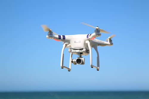 A Drone Camera Flying in the Air