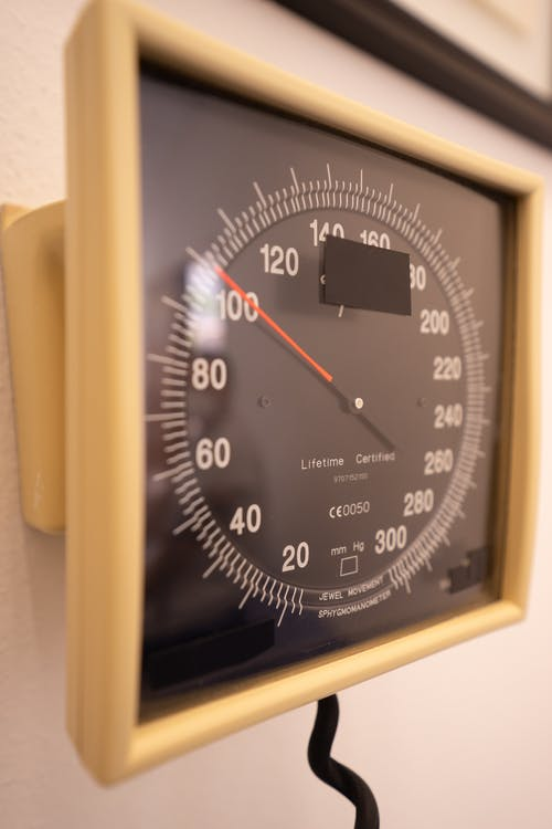 Close-Up Photo of a Sphygmomanometer Gauge