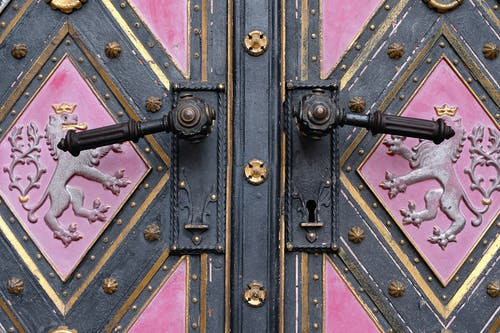 Close-Up Shot of Black and Pink Door with Gold Lining