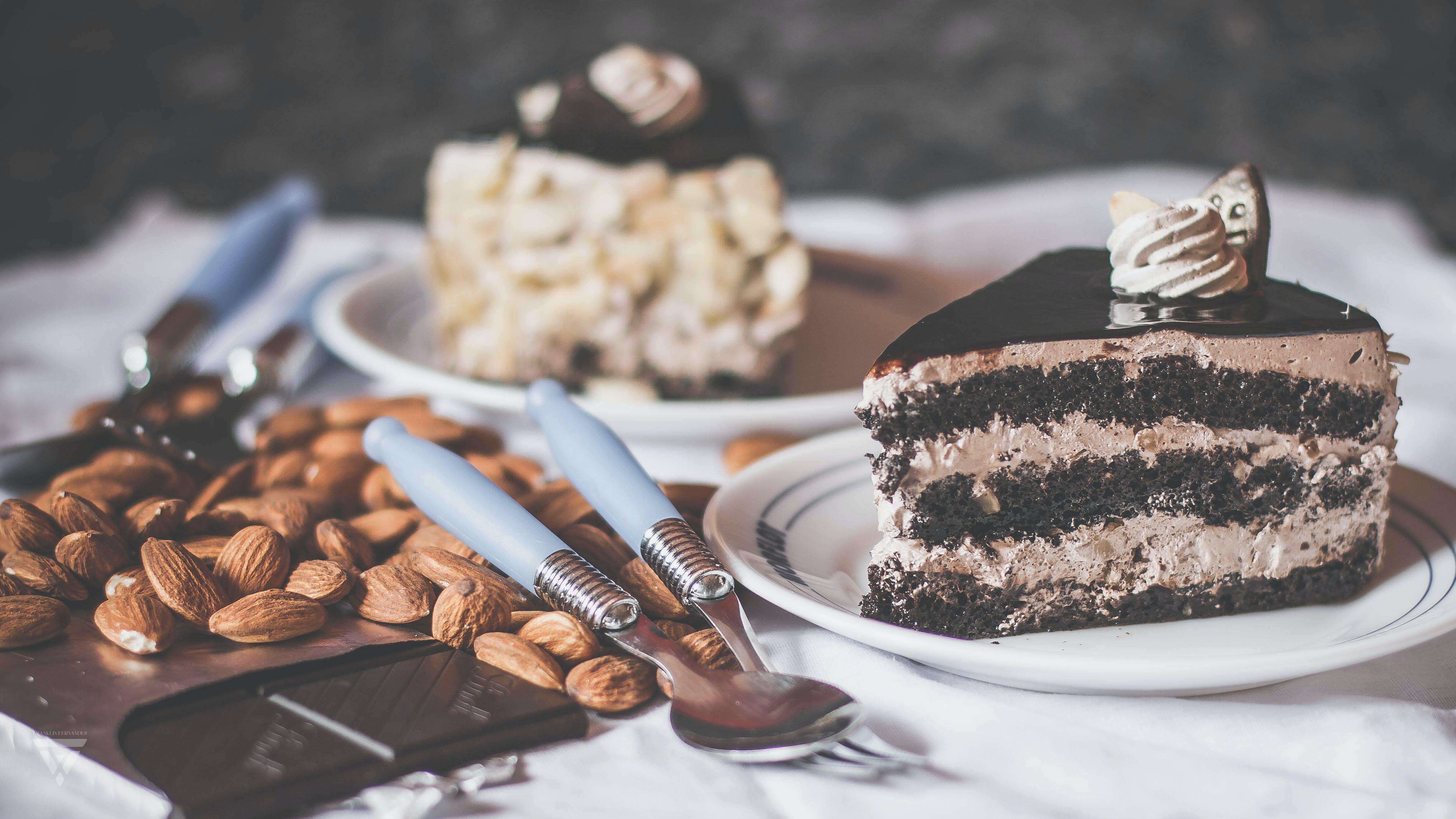Chocolate Cake on White Ceramic Saucer