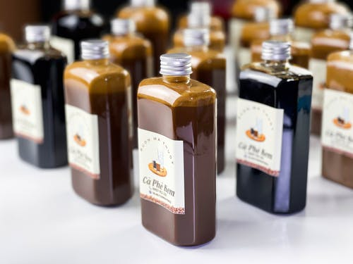 Bottles with various sweet syrups