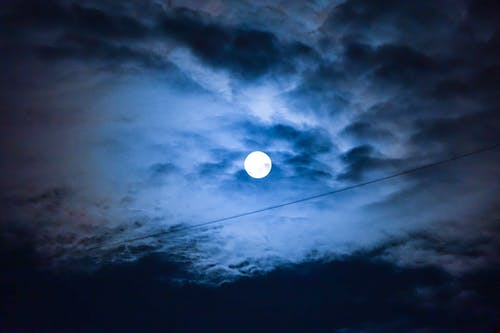 Free stock photo of blue, blue sky, dark blue, full moon