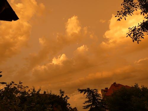 Free stock photo of cloudy sunset, yellow cloudy sunset, yellowish clouds