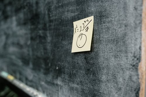 Close-Up Photo of a Mathematical Formula Written on a Sticky Note Posted on a Blackboard