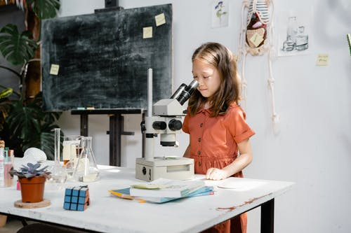 A Smart Girl Looking at the Microscope