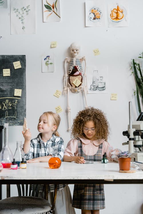 Two Girls Doing a Science Experiment Inside the Laboratory