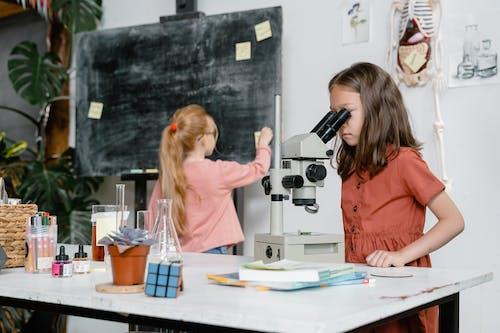 A Smart Girl Using a Microscope