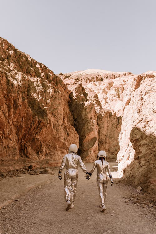 Backside of Astronauts Walking in a Planet