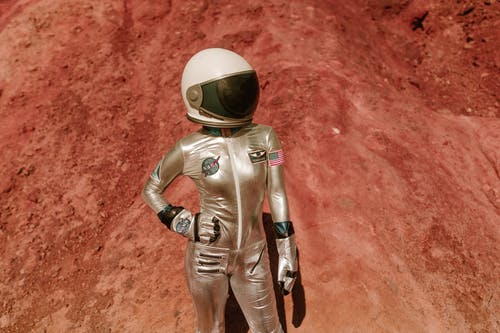 A Spacewoman Standing with hand on her Hip