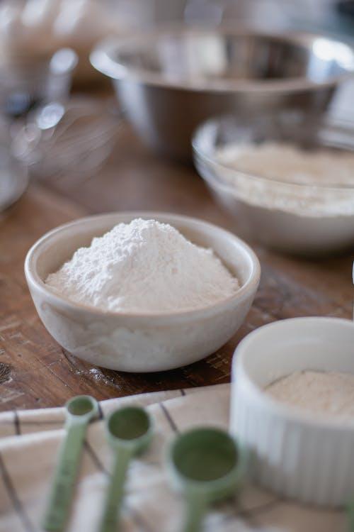 White Powder in White Ceramic Bowl