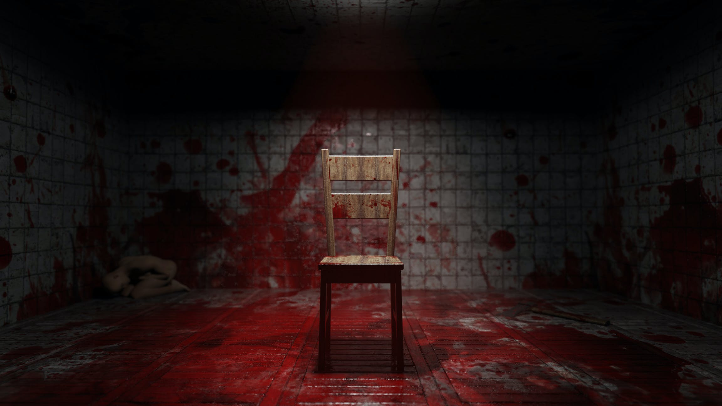 blood, chair, damaged
