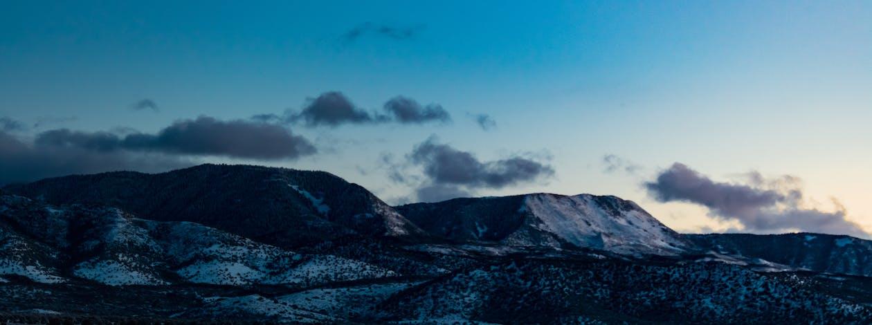 màu xanh da trời, núi, tuyết