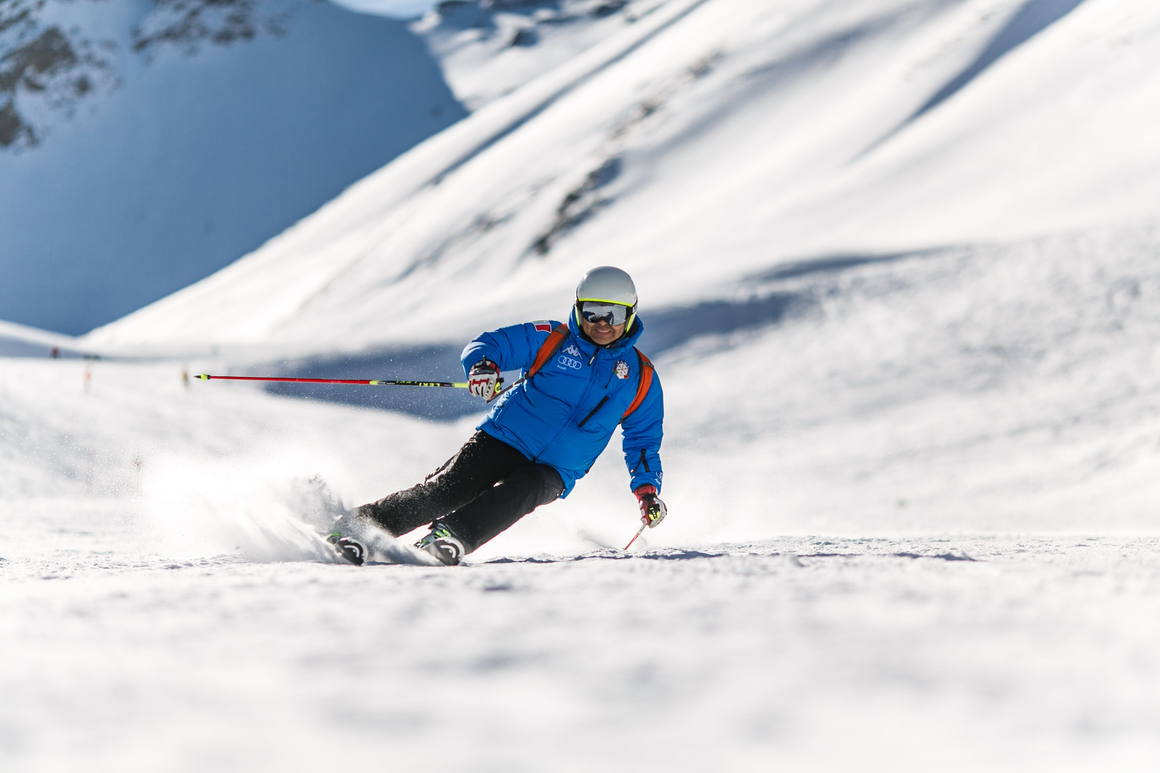 Man Snow Skiing on Bed of Snow during Winter