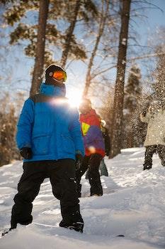 Man in Blue Full-zip Jacket on Snowy Field