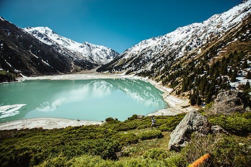 Lac Bleu Entouré De Montagnes Enneigées Blanches
