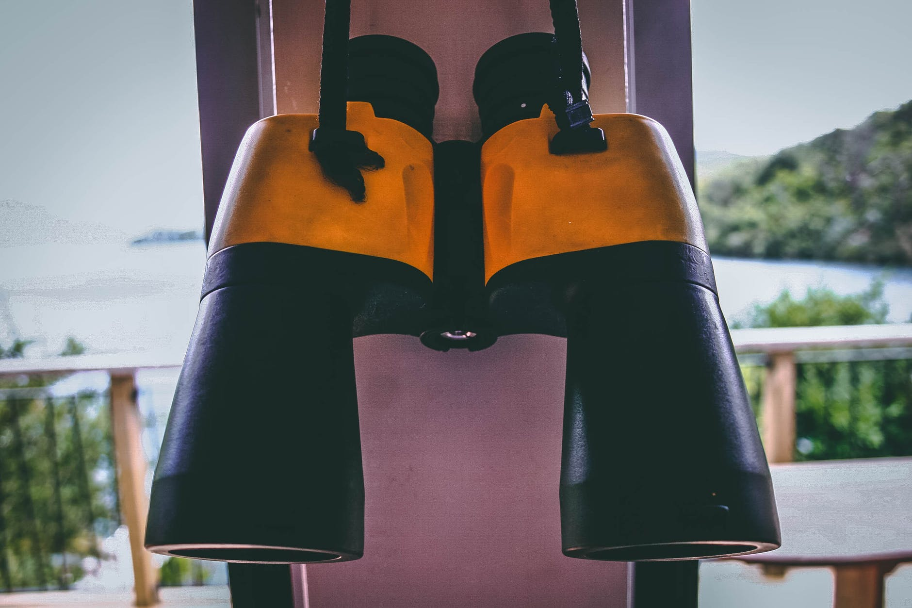 black and yellow binocular