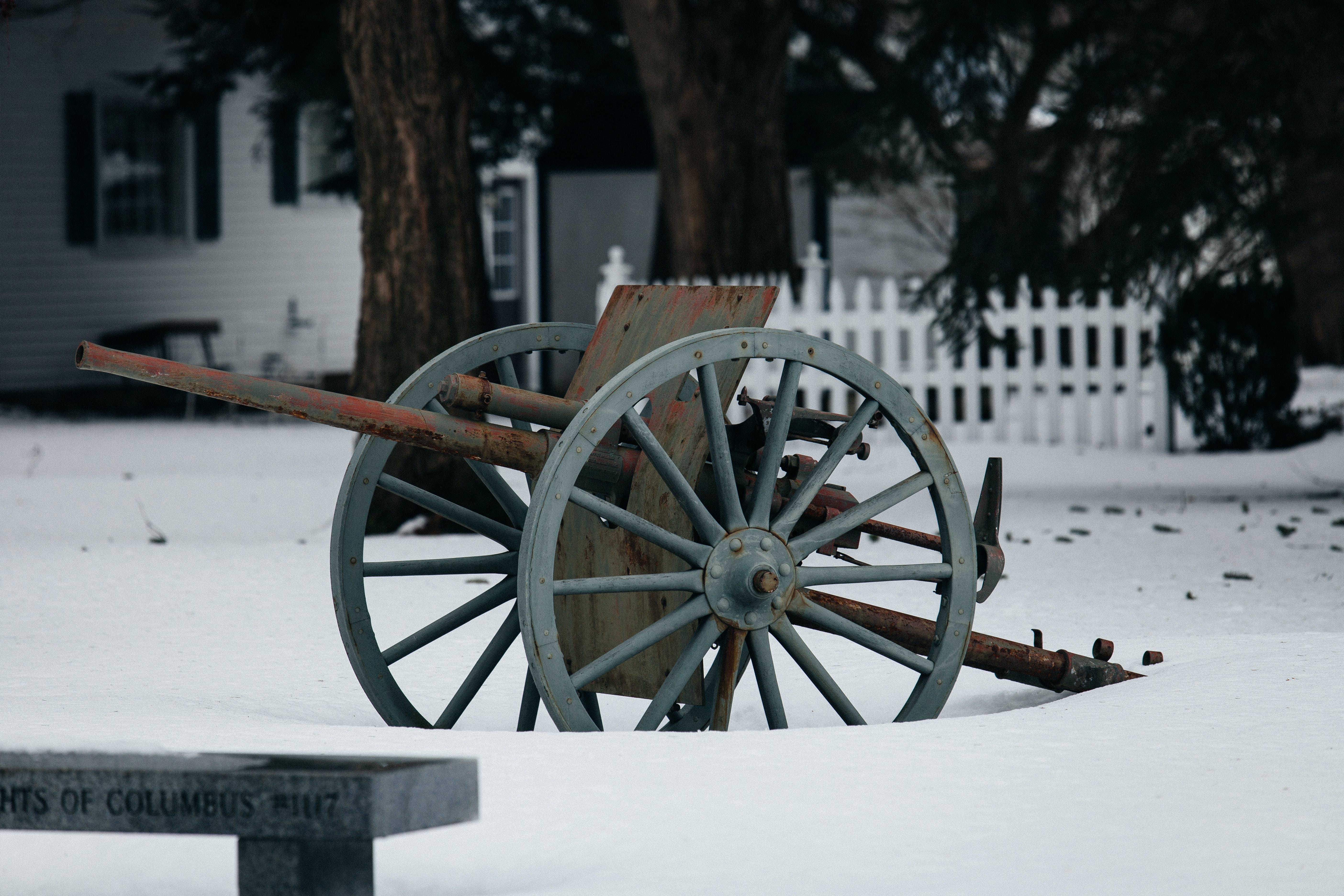 Free stock photo of snow, winter, park, cannon